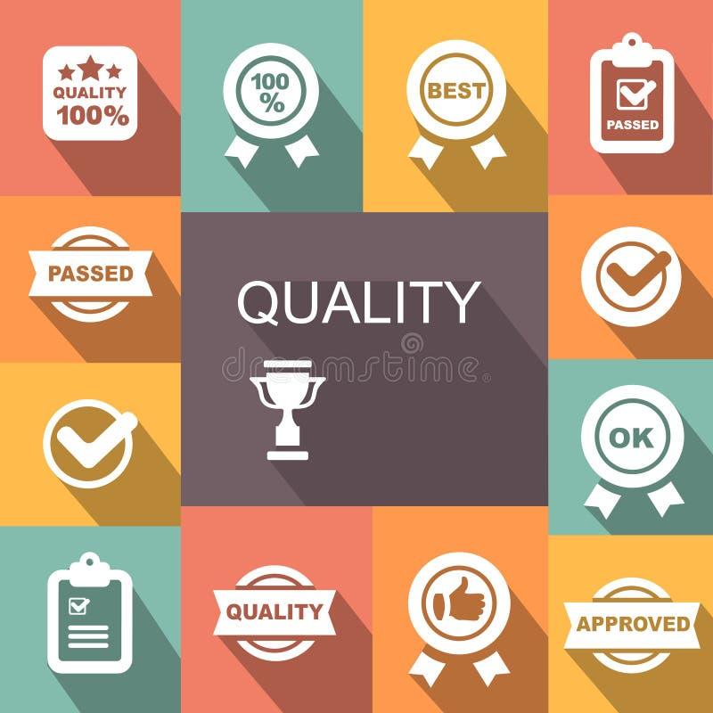 O controle da qualidade relacionou o grupo do ícone do vetor ilustração do vetor