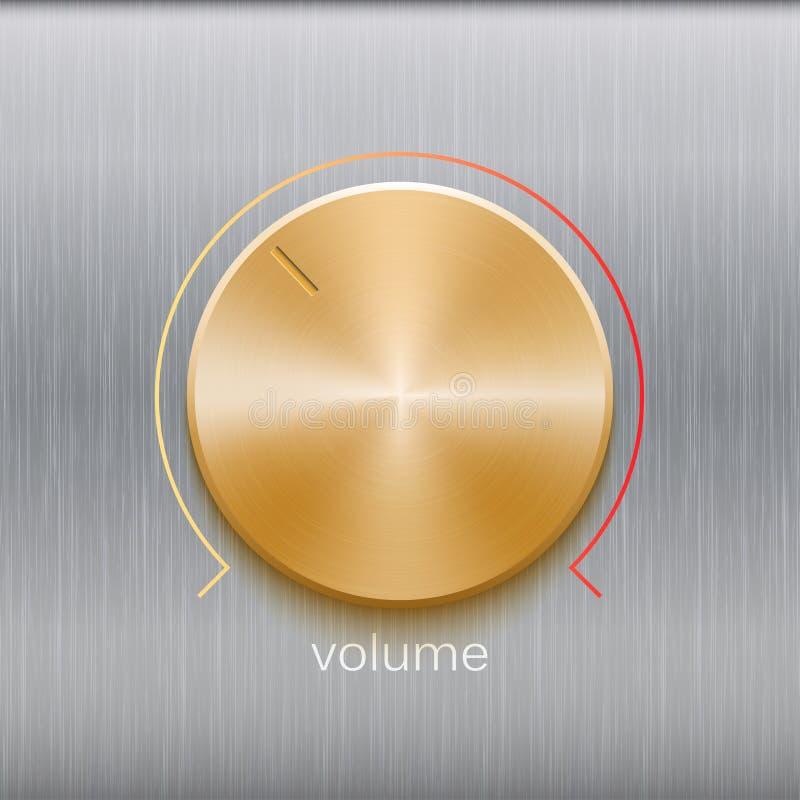 O controle sadio, o botão da música com textura escovada dourada e a linha de cor escala isolada no metal texture o fundo ilustração do vetor