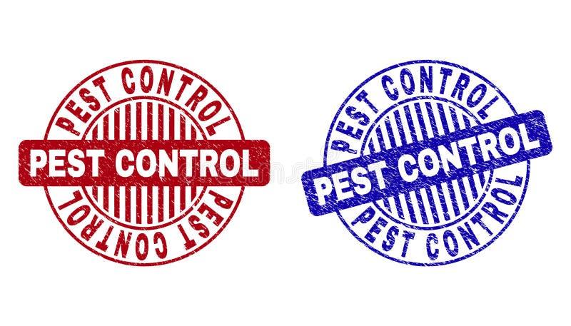 O CONTROLO DE PRAGAS do Grunge Textured selos redondos do selo ilustração stock