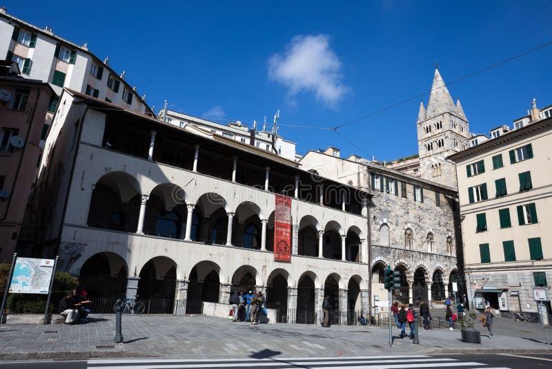 O convento de San Giovanni di Prè La Commenda dentro do centro histórico da cidade de Genoa, Itália foto de stock royalty free