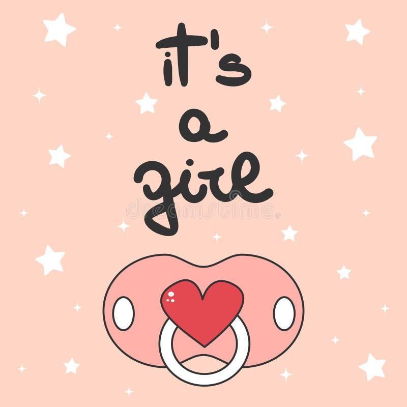 O convite bonito do cartão da festa do bebê do vetor com a mão tirada rotulando a é um texto da menina com chupeta ilustração do vetor