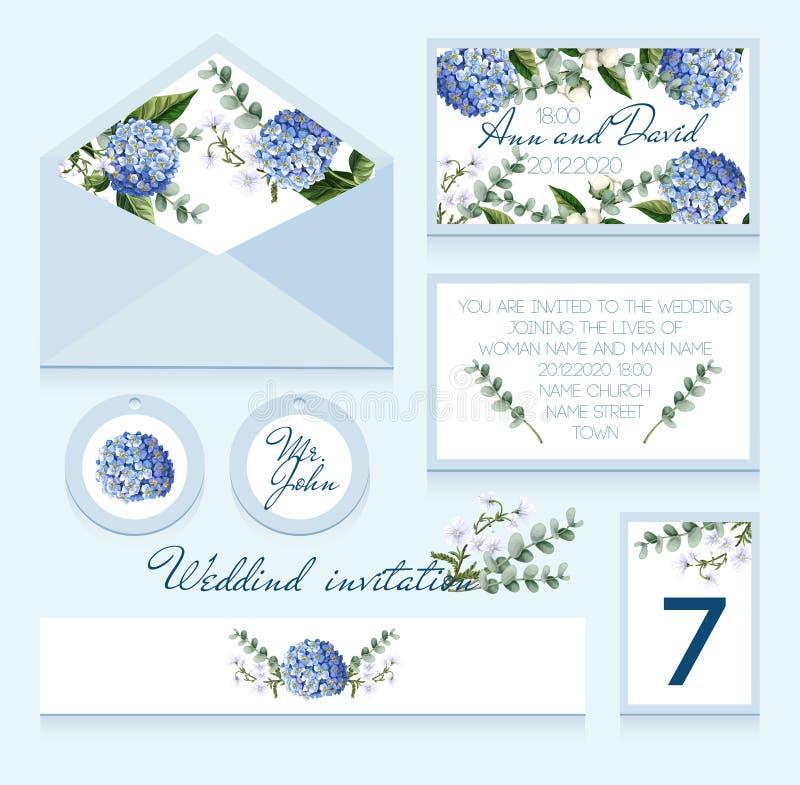 O convite delicado do casamento na cor azul com hortênsias, flores do algodão e eucalipto ramifica Ilustração do vetor ilustração stock