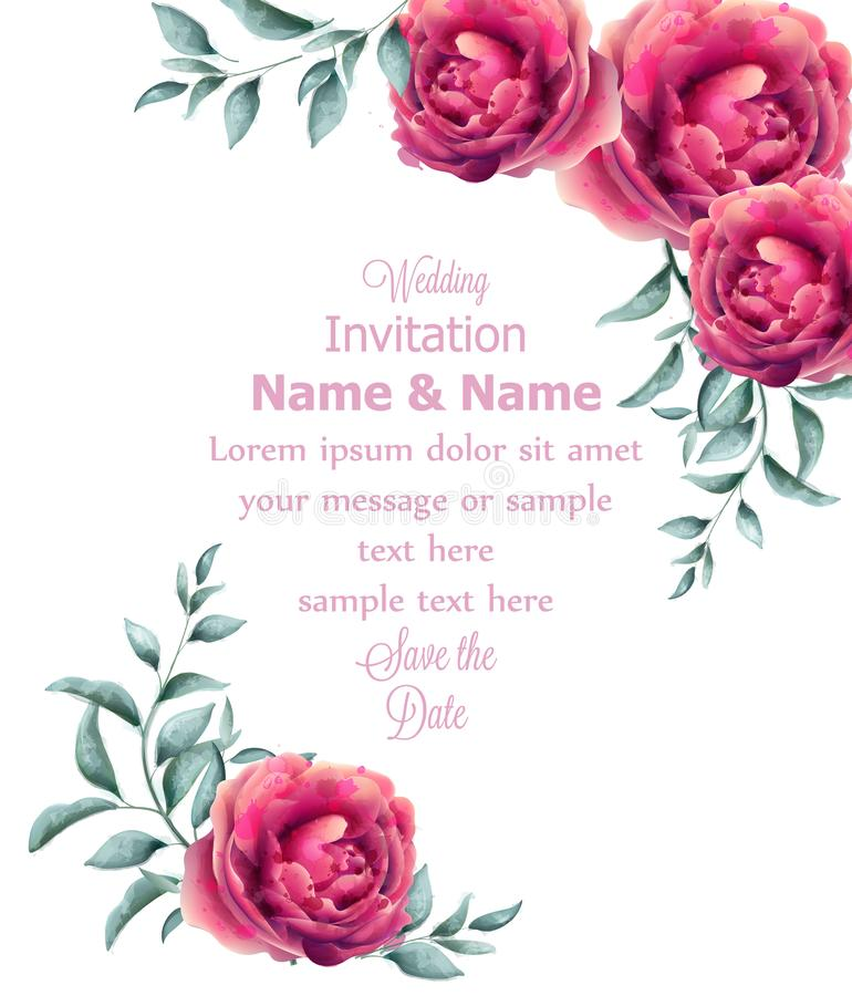 O convite do casamento aumentou vetor do quadro da aquarela das flores O fúcsia bonito colore decorações florais ilustração stock