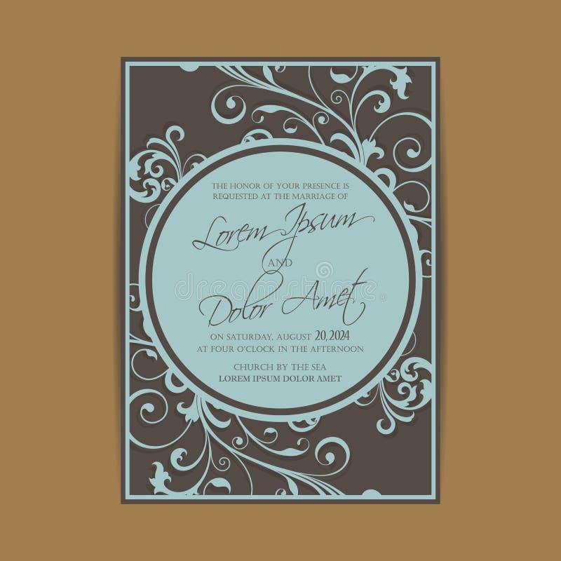 O convite do casamento e salvar os cartões de data ilustração royalty free