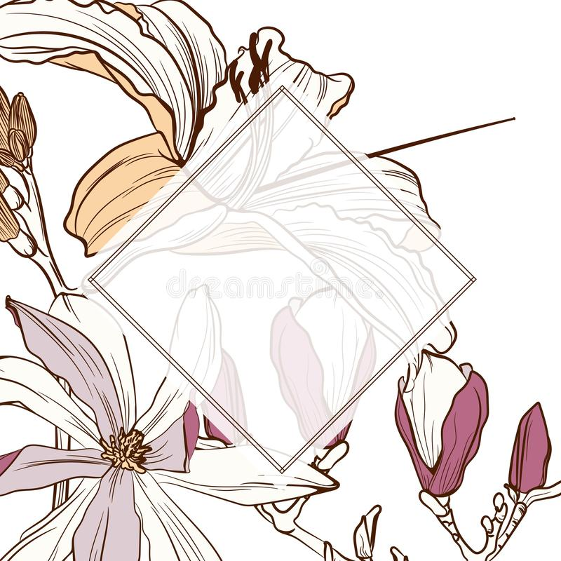 O convite do casamento, floral convida agradece-lhe, projeto de cartão moderno do rsvp com linha marrom simples lírios ilustração royalty free