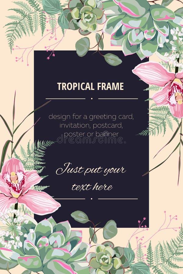 O convite do casamento, floral convida agradece-lhe, projeto de cartão moderno do rsvp em flores cor-de-rosa da orquídea ilustração royalty free