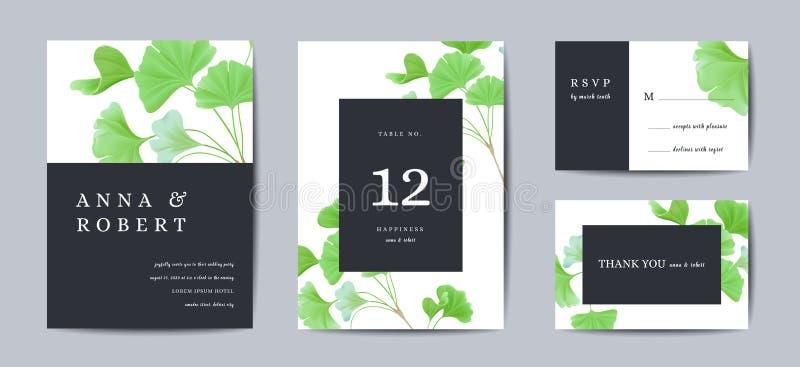 O convite do casamento, floral convida agradece-lhe, projeto de cartão realístico moderno do rsvp com nogueira-do-Japão que o bil ilustração stock