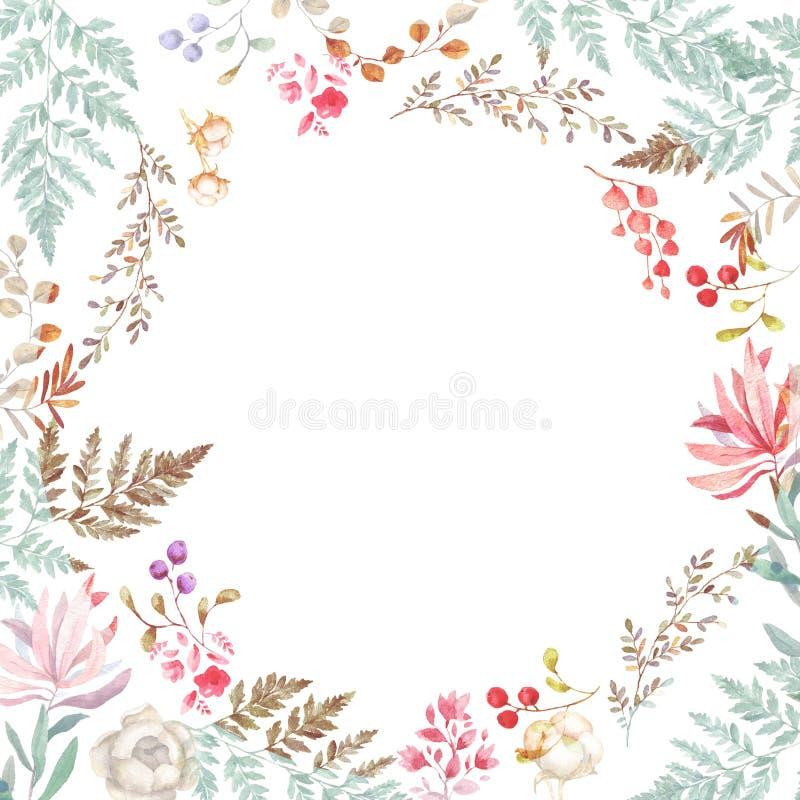 O convite do casamento, floral convida o cartão, flores cor-de-rosa e as folhas verdes geométricos Quadro verde-oliva da beleza F ilustração stock