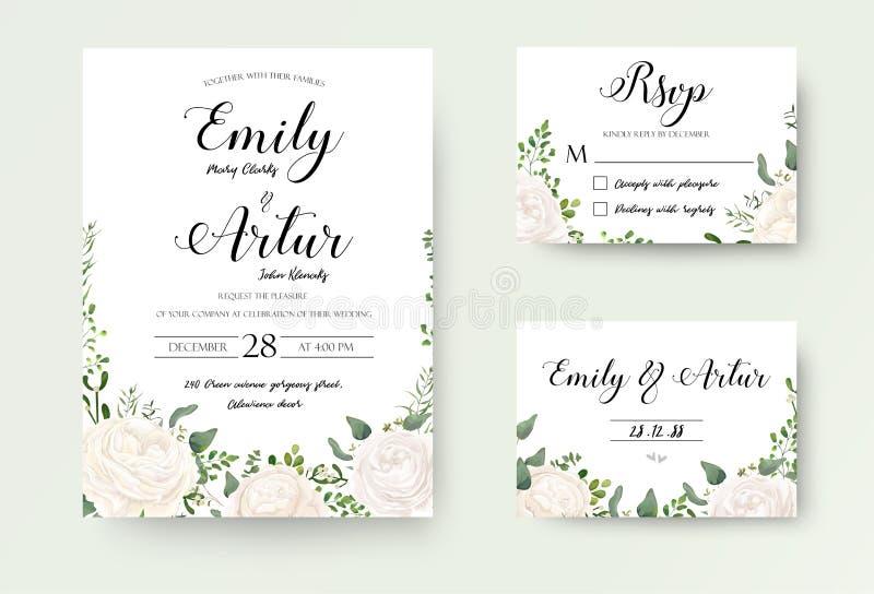 O convite do casamento floral convida os projetos bonitos s do vetor do cartão de Rsvp ilustração royalty free