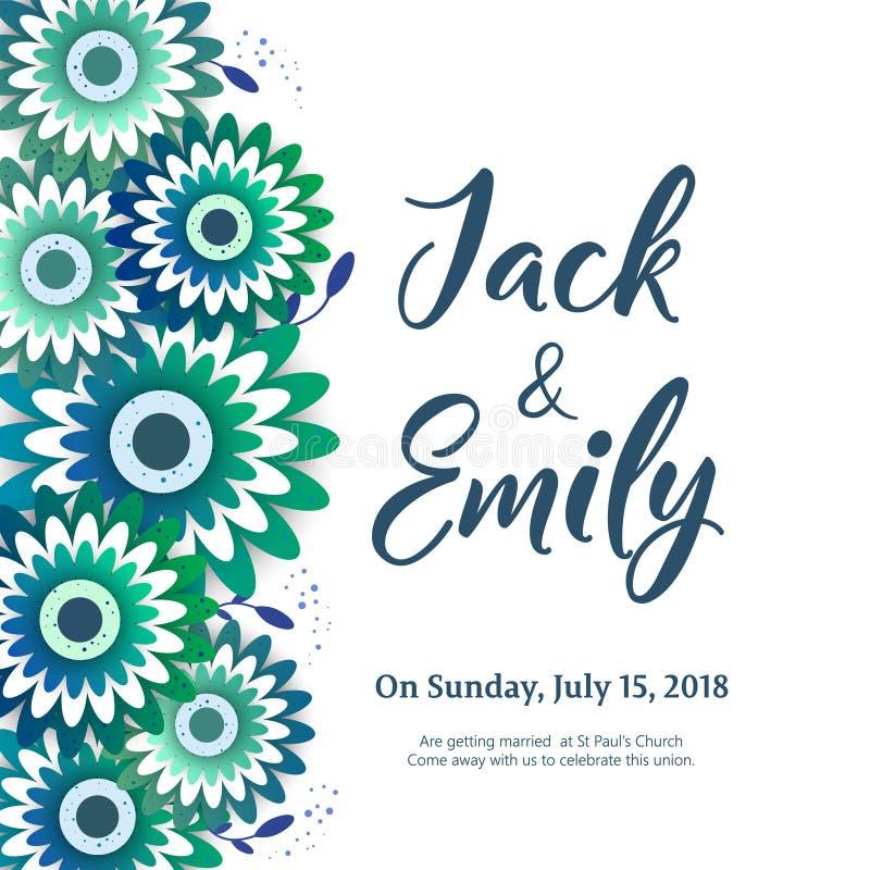 O convite do casamento, floral convida o projeto de cartão ilustração do vetor