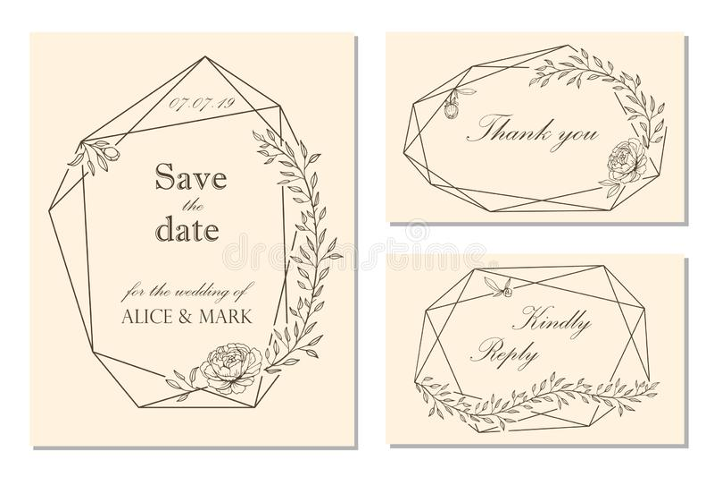 O convite do casamento, rsvp, salvar o projeto de cartão da data com floral ilustração stock