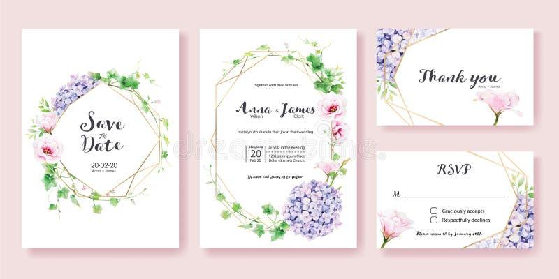 O convite do casamento, salvar a data, obrigado, molde do projeto de cartão do rsvp Hera das hortaliças, rosa Lisianthus, flor da ilustração stock