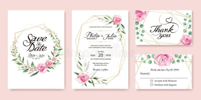 O convite do casamento, salvar a data, obrigado, projeto de cartão do rsvp ilustração do vetor