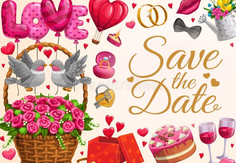O convite do casamento, salvar os corações do amor da data ilustração royalty free