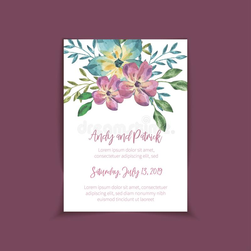 O convite do casamento, salvar o projeto de cartão da data ilustração stock