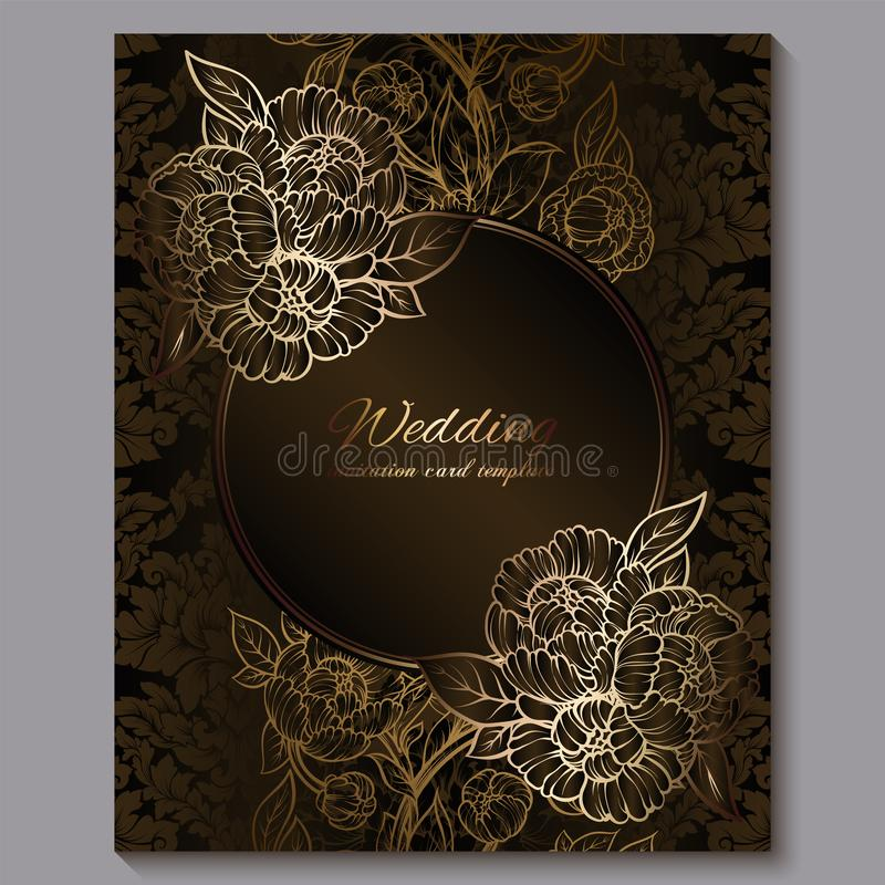 O convite luxuoso real do casamento do chocolate excelente, o fundo floral do ouro com quadro e o lugar para o texto, folha la?ad ilustração stock