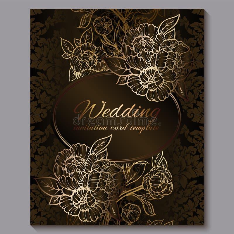 O convite luxuoso real do casamento do chocolate excelente, o fundo floral do ouro com quadro e o lugar para o texto, folha la?ad ilustração royalty free