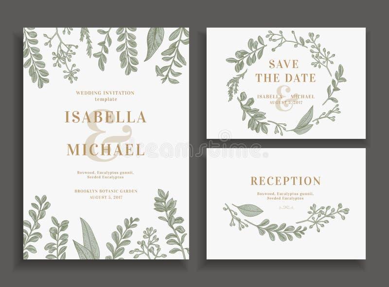 O convite, salvar a data, cartão da recepção ilustração royalty free