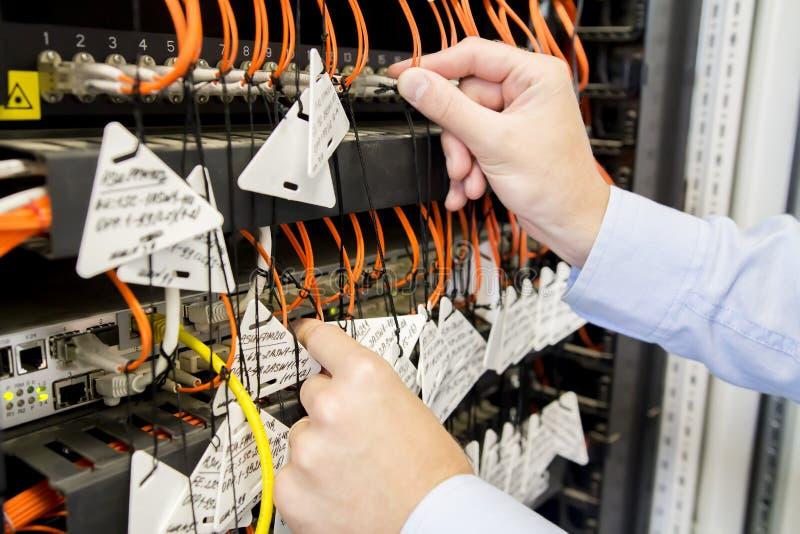 O coordenador conecta patchcords óticos aos interruptores no centro de dados Telecomunicações no centro de dados fibra imagens de stock royalty free