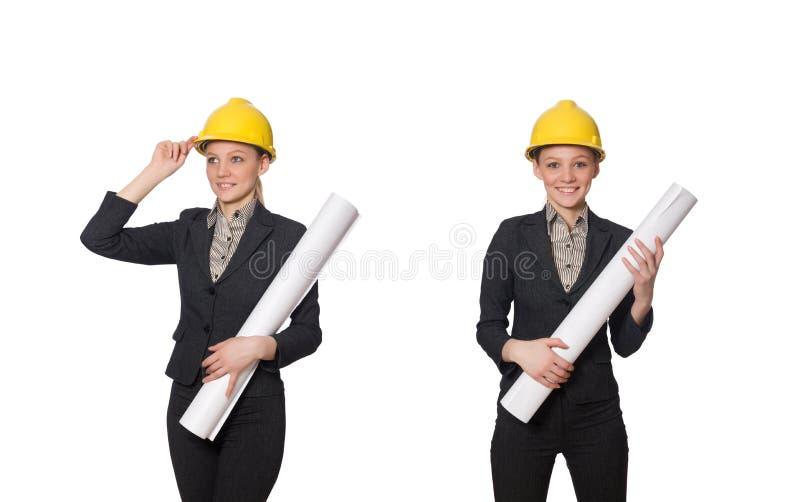 O coordenador da mulher com projetos imagem de stock