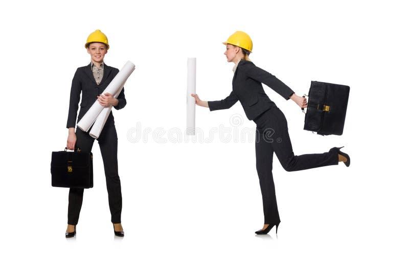 O coordenador da mulher com projetos imagens de stock royalty free