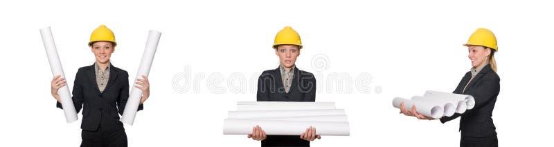 O coordenador da mulher com projetos fotos de stock
