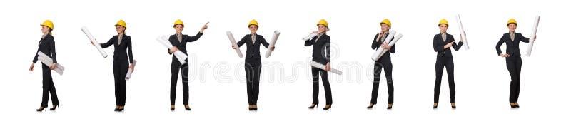 O coordenador da mulher com projetos foto de stock