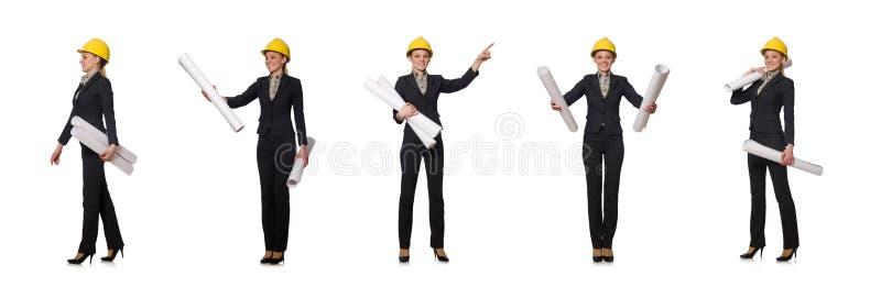 O coordenador da mulher com projetos imagens de stock
