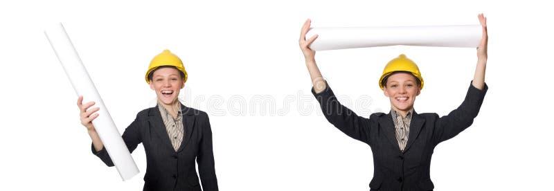 O coordenador da mulher com projetos fotografia de stock royalty free
