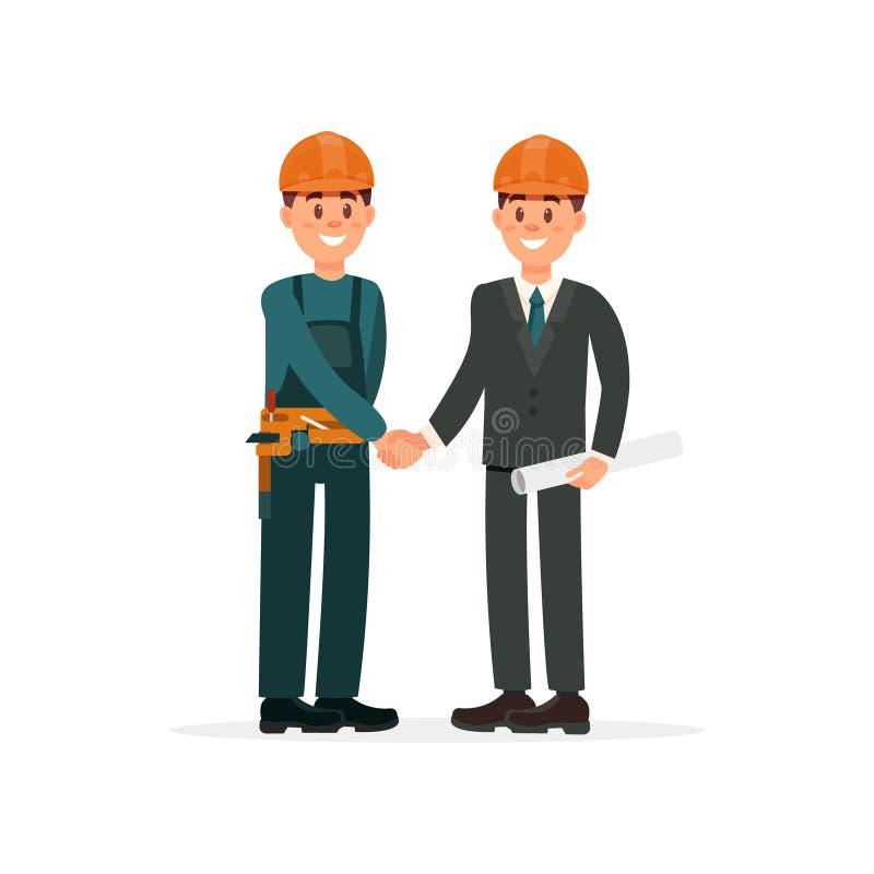 O coordenador de construção ou o arquiteto e o contramestre nos capacete de segurança que agitam as mãos vector a ilustração em u ilustração stock