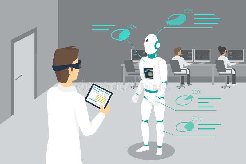 O coordenador de programação ajusta um robô usando o dispositivo cabeça-montado para a realidade aumentada e virtual ilustração royalty free