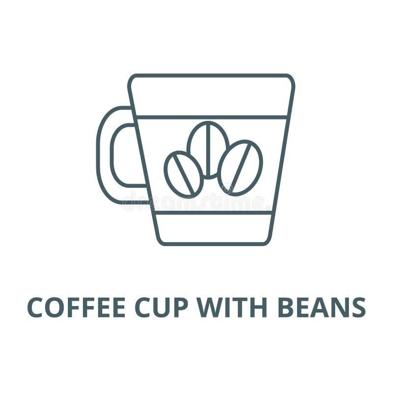 O copo de café com feijões alinha o ícone, vetor Copo de café com sinal do esboço dos feijões, símbolo do conceito, ilustr ilustração stock