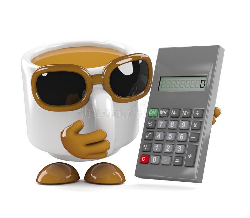 o copo de café 3d dá certo o custo ilustração stock