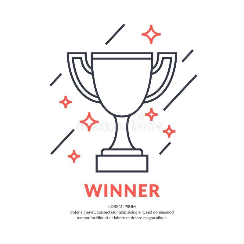 O copo de campeão Figura linear Ostenta o troféu, um prêmio ao vencedor ilustração royalty free