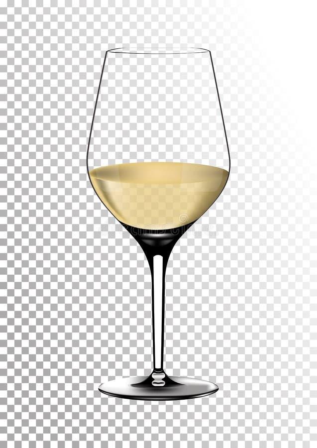 O copo de vinho realístico transparente do vetor completamente do vinho branco com palha saturada brilhante coloriu o âmbar Ilust ilustração stock