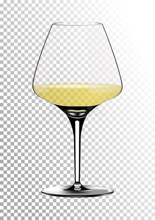 O copo de vinho realístico transparente do vetor completamente do vinho branco com palha saturada brilhante coloriu o âmbar Ilust ilustração do vetor