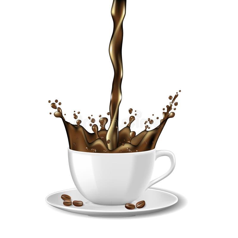 O copo do café instantâneo e os anúncios pretos dos feijões projetam Caneca de café quente com o respingo isolado no branco Ilust ilustração stock