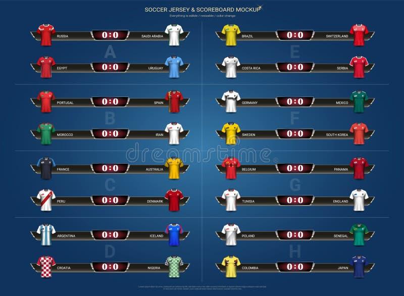 O copo 2018 do campeonato mundial do futebol, de futebol da equipa nacional grupo e placar do grupo dos uniformes do jérsei combi ilustração stock