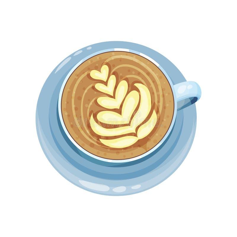 O copo do cappuccino ou do latte com corações projeta na parte superior, desenhos na ilustração do vetor do crema do café em um f ilustração stock
