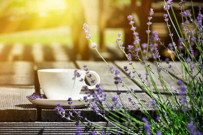 O copo do chá serviu na tabela de madeira natural no estilo GA de provence fotografia de stock
