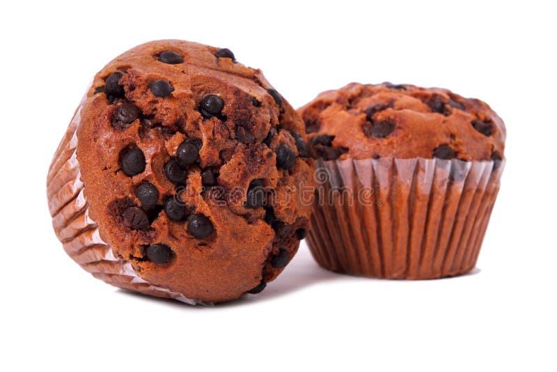 O copo dos pedaços de chocolate de dois queques endurece o fundo branco imagem de stock royalty free