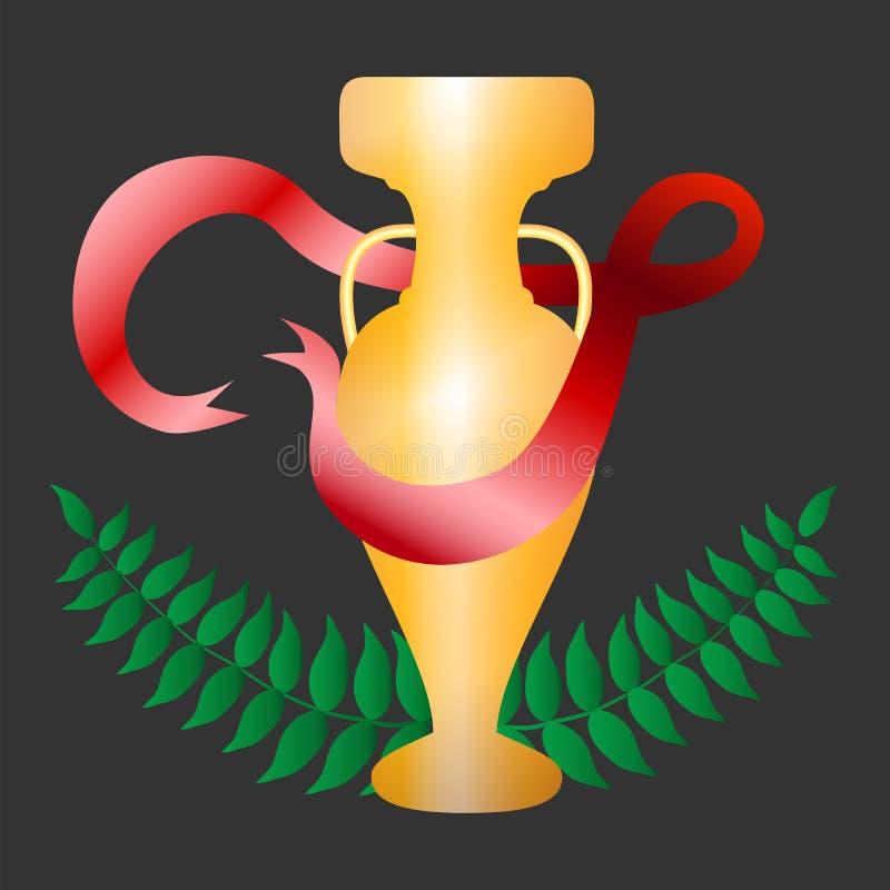 O copo dourado com fita vermelha e o louro envolvem a ilustração ilustração royalty free