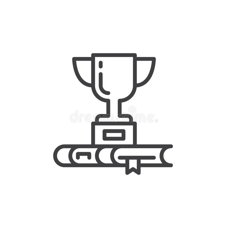 O copo e o livro do troféu alinham o ícone, sinal do vetor do esboço, pictograma linear do estilo isolado no branco ilustração stock
