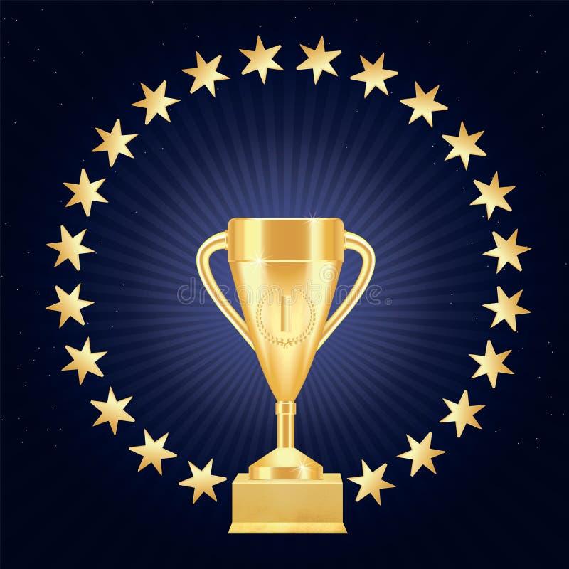 O copo ou o cálice realístico dourado do troféu com número um, grinalda do louro e ouro protagonizam em um círculo em suporte dou ilustração royalty free