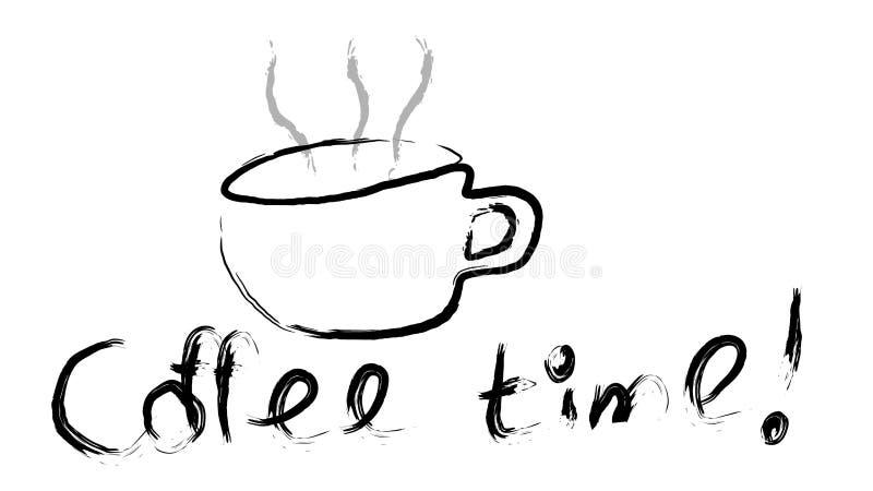 O copo preto de tonificar a pintura desenhado à mão do café marrom quente saboroso com um vapor bonito e o café cronometram a ins ilustração stock