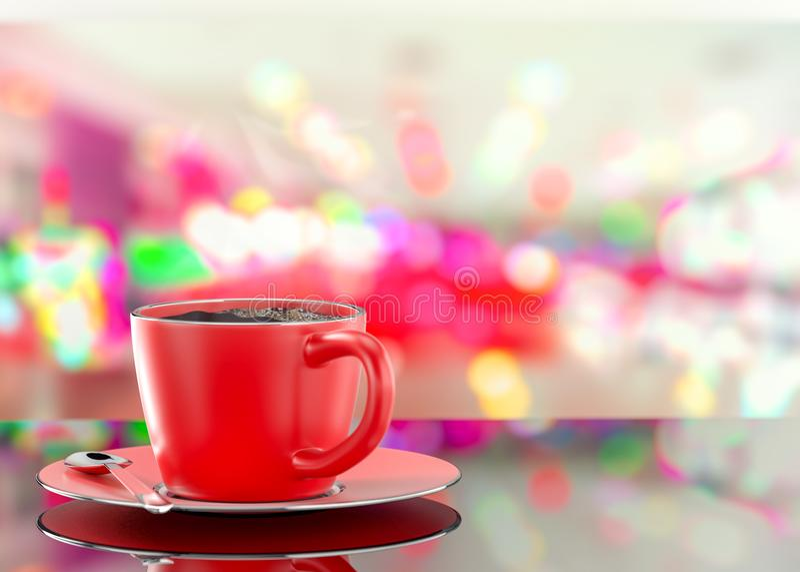 O copo vermelho do café no sumário borrou o fundo da foto ilustração stock