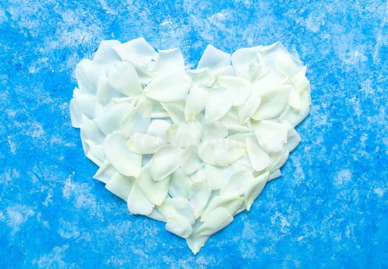O coração é alinhado com as pétalas cor-de-rosa brancas em um fundo dos azul-céu Decoração do dia de Valentim e conceito do amor  fotografia de stock royalty free
