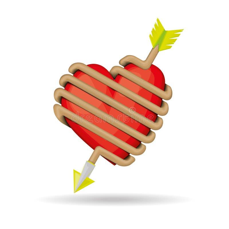 O coração é prendido na seta do amor ilustração stock