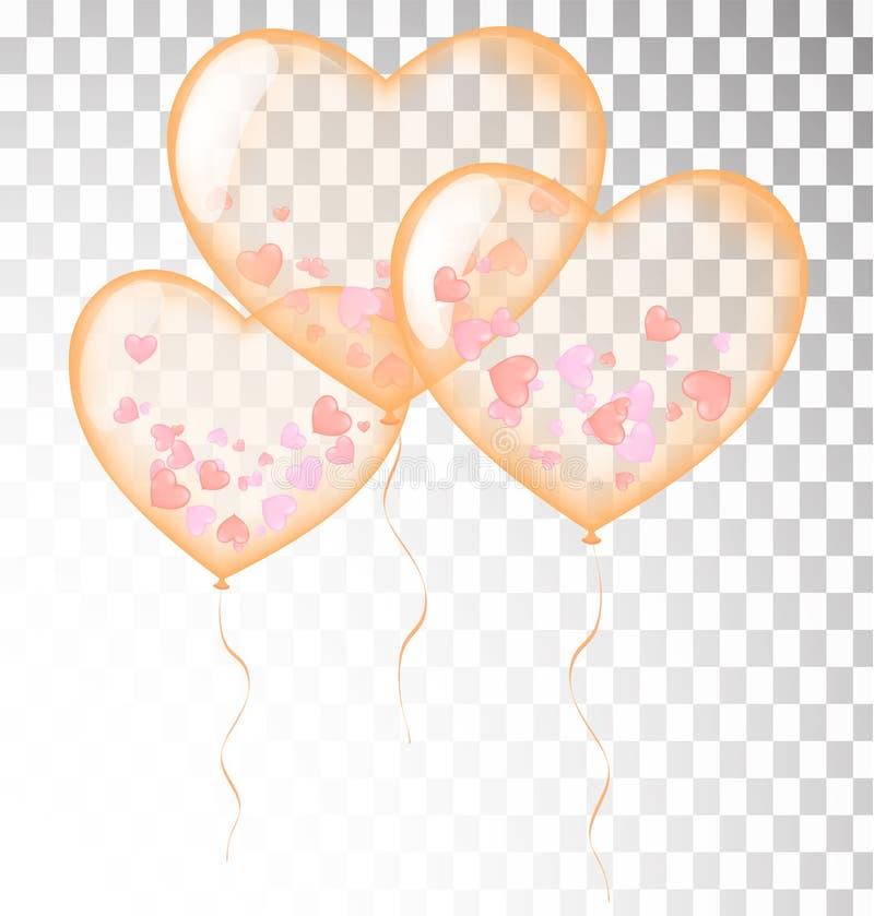 O coração alaranjado balloons o molde transparente da bandeira, fundo V ilustração stock