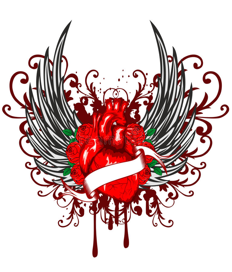 O coração, asas e levantou-se ilustração stock